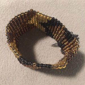 Tribal print stretchy beaded bracelet